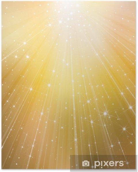 Poster Vecteur or fond avec des rayons et des étoiles. - Fêtes internationales