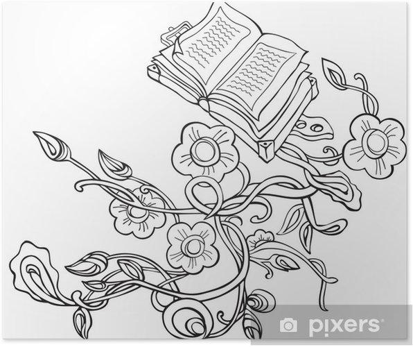 Poster Vecteur Plantes De Dessin Avec Des Fleurs Et De Livres Anciens