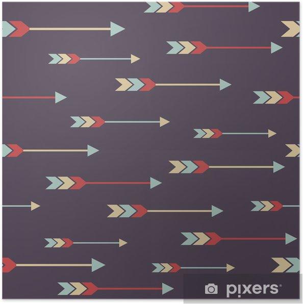 Poster Vecteur seamless ethnique coloré avec des flèches - Styles