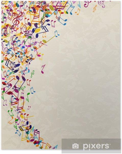 Vector Abstract Background With Colorful Music Notes Poster
