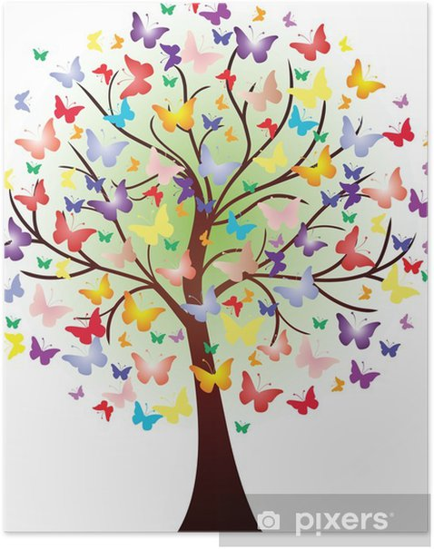 Poster Vector bel arbre de printemps, composée de papillons - Sticker mural