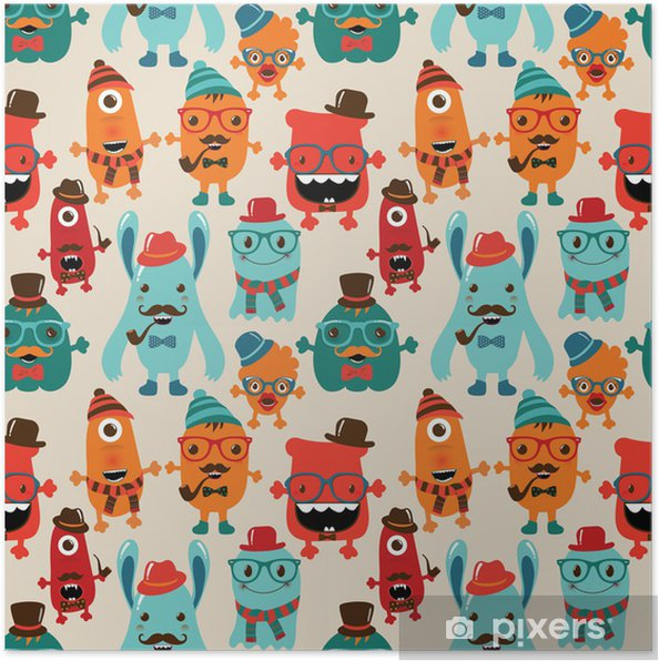 bfe545bb87f Vector Cute Retro Hipster Monsters Seamless Pattern