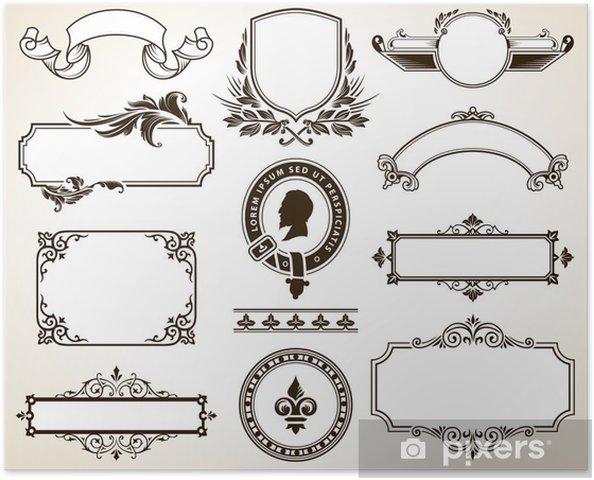 Póster Vector de conjunto de marcos ornamentados y elementos de diseño caligráfico - Texturas