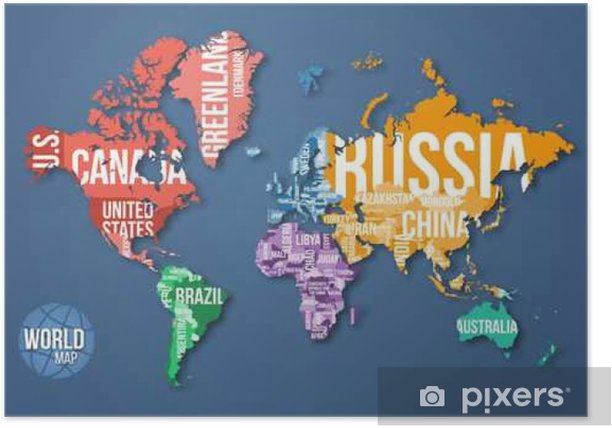 Vector detailed world map with borders and country names. Education ...