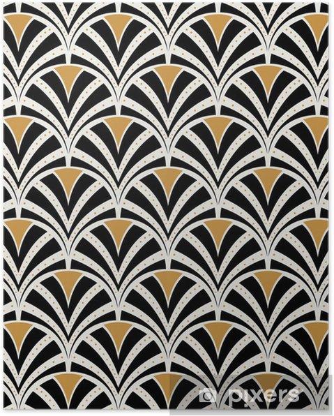 Póster Vector floral art nouveau de patrones sin fisuras. textura de hojas geométricas decorativas. Fondo con estilo retro. - Recursos gráficos