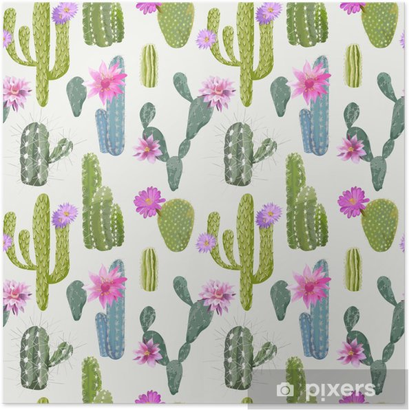 Póster Vector Fondo Cactus. Patrón sin fisuras. Planta exótica. Trópico - Plantas y flores