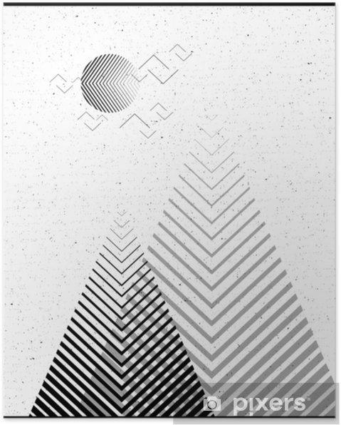 Poster Vector geometrische driehoek achtergrond, abstracte mountains.conceptual achtergrond, met mountains.flat design, met minimale elements.use voor kaart, poster, brochure, banner.black en witte interieur print. - Landschappen