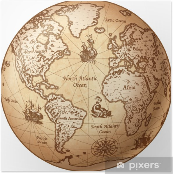 Vector Globe Vintage World Map Poster • Pixers® • We live to change