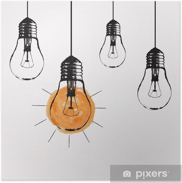 Poster Vector grunge illustration avec la pendaison ampoules et place pour le texte. Moderne style de croquis hipster. idée unique et le concept de la pensée créative. - Émotions et sentiments
