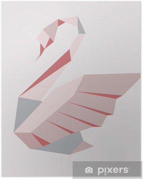 Poster Vector illustratie van een gestileerde zwaan op een grijze achtergrond - Zwanen
