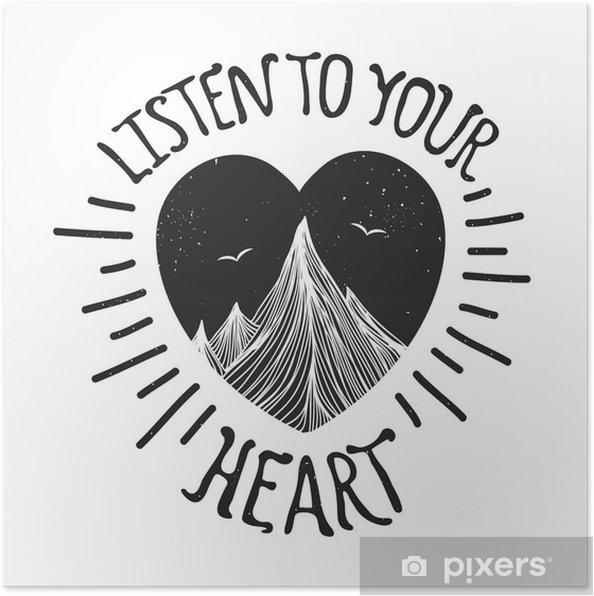 Poster Vector illustration avec des montagnes à l'intérieur du coeur - Paysages