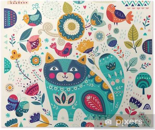 Poster Vector illustration colorée avec chat belles, les papillons, les oiseaux et les fleurs - Animaux