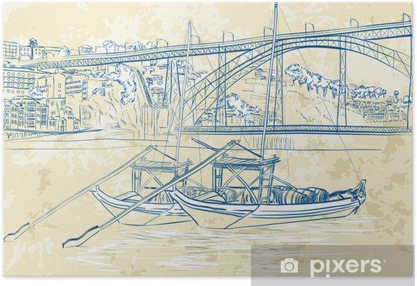 Poster Vector illustration de bateaux de Rabelo à Porto, Portugal - Europe