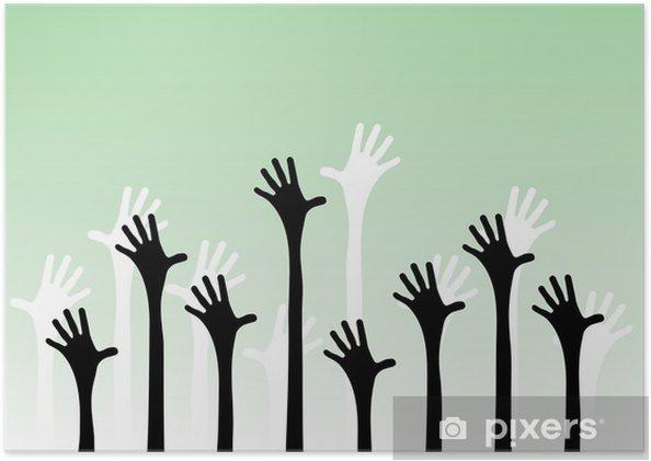 Poster Vector illustration de mains tendues dans l'air. - Autres