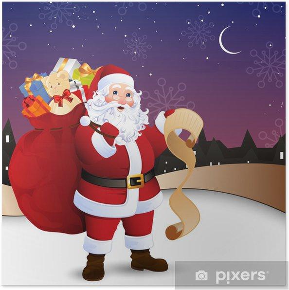Poster Vector Illustration du Père Noël en face de la ville - Fêtes internationales