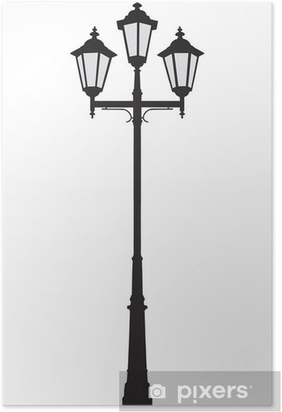 Vector Ilration Of An Old Fashioned Street Lamppost Poster