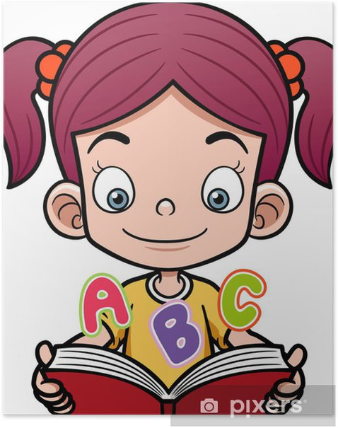 Vector Illustration Of Cartoon Girl Reading A Book Poster Pixers We Live To Change