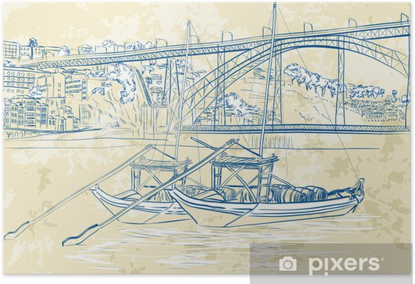 Vector illustration of rabelo boats in Porto, Portugal Poster - Europe