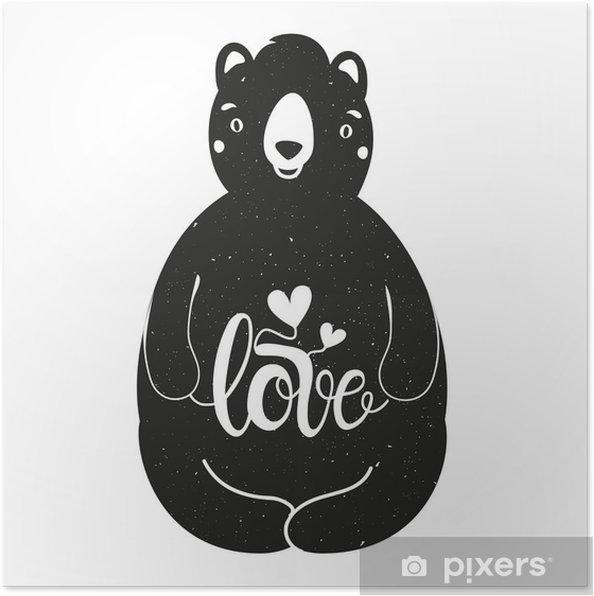 Poster Vector illustration romantique avec l'ours et le mot amour - Animaux