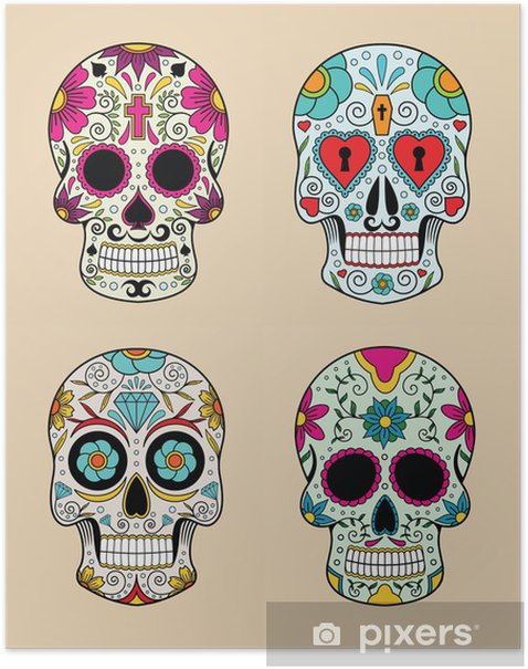 vector illustration set of skulls in mexican tradition Poster - Signs and Symbols