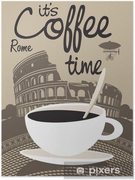 Poster Vector image avec tasse de café sur le Colisée de Rome - Pour café
