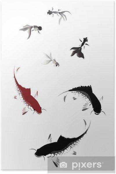 Poster Vector karper en goud vissen zwemmen - Dieren