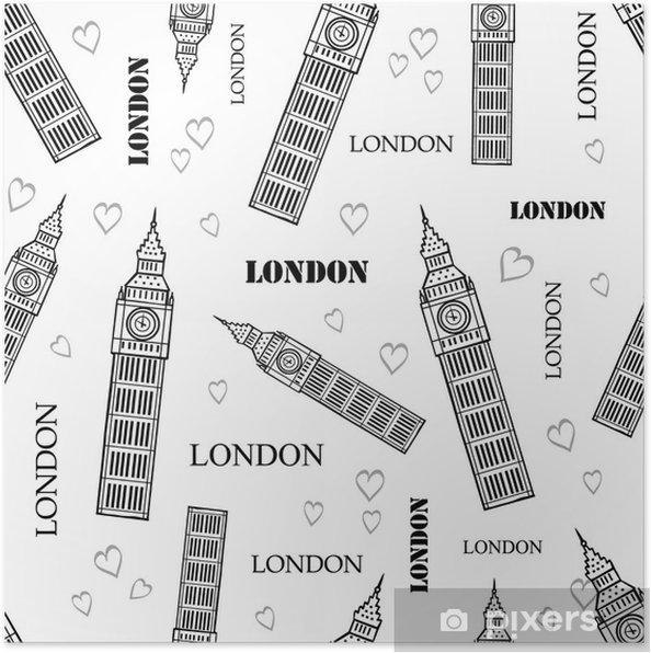 Vector London Symbols Black White Seamless Pattern With Big Ben