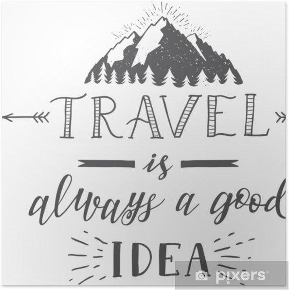 Póster Vector Mano Letras Cita De Viajes Y Montañas Frases De Motivación