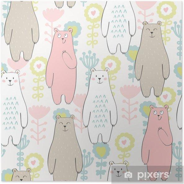 Poster Vector naadloos patroon met beer en bloemen - Dieren