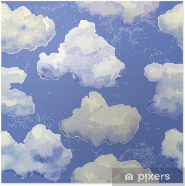 Poster Vector naadloos patroon met waterverf blauwe wolken - Grafische Bronnen
