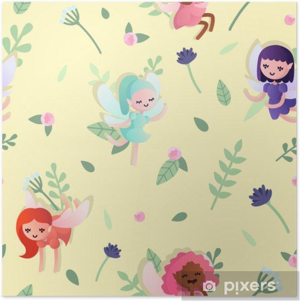 Poster Vector naadloze patroon met mooie kleine baby feeën op gele achtergrond met bloemen en bladeren - Grafische Bronnen