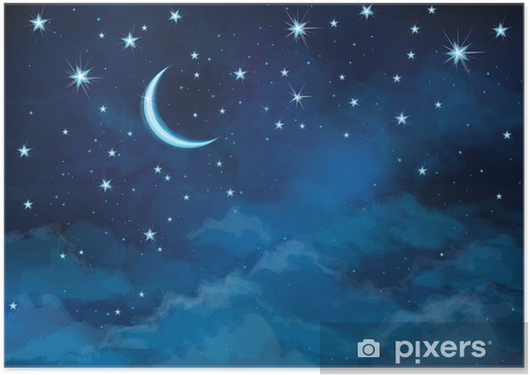 Vector night sky background stars and moon  Poster