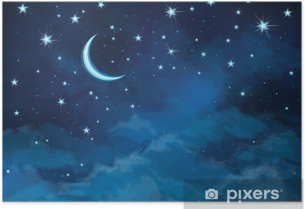 Vector Night Sky Background Staroon Poster