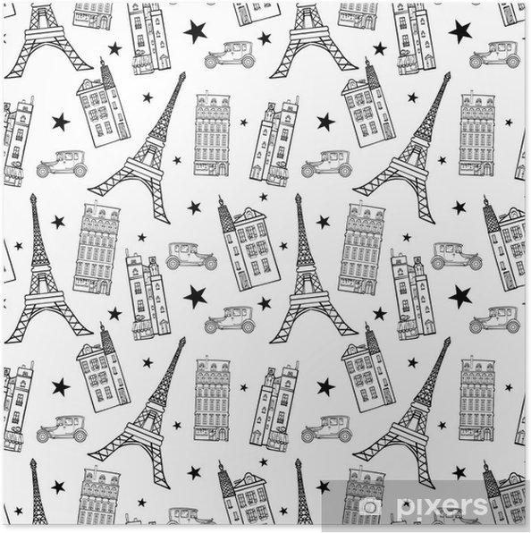 Vector Paris Streets Black White Drawing Seamless Pattern With Eifel Tower Houses Cars And Stars Poster