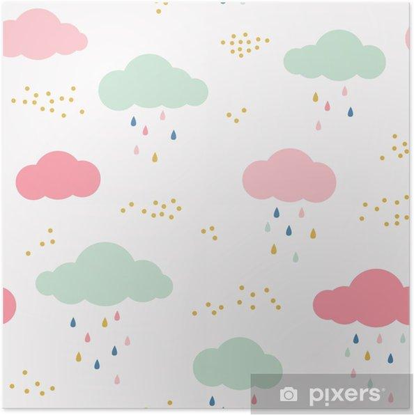 Póster Vector patrón de niños con nubes, gotas de lluvia y puntos ...