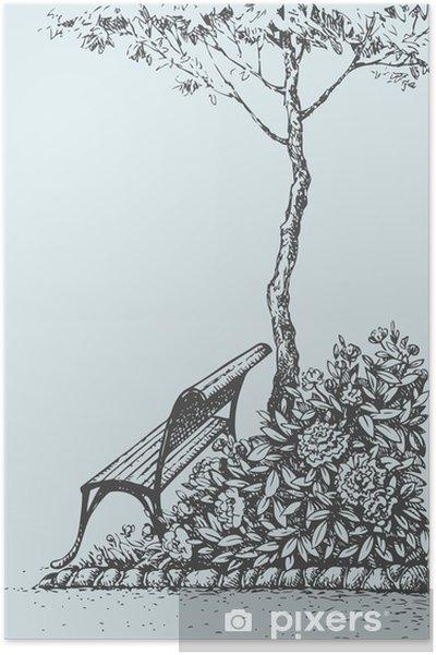 Poster Vector paysage. Banc de parc sous un arbre près de buissons pions - Bâtiments publics