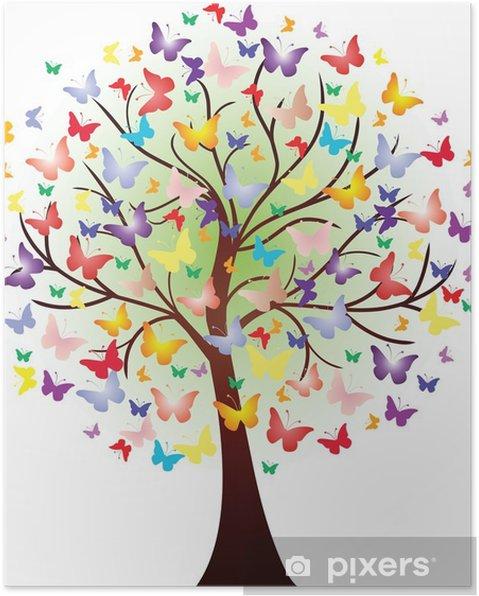 Poster Vector prachtige lente boom, bestaande uit vlinders - Muursticker