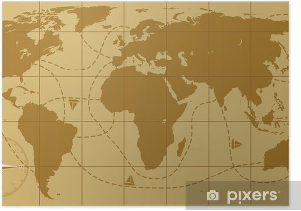 vector retro world map with compass rose Poster