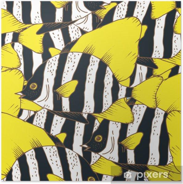 Vector seamless pattern with zebra fish, coral fish hand drawn colorful illustration. Sketch with black and white striped boarfish, marine animal Poster - Animals