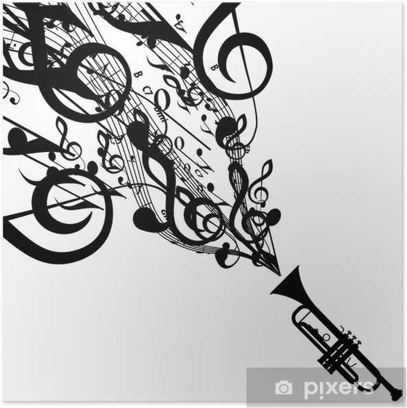 Vector Silhouette of Trumpet with Musical Symbols Poster