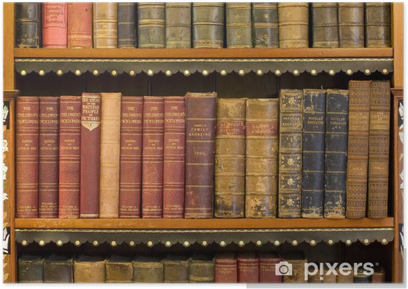Boekenplank Met Boeken.Poster Veel Oude Boeken Op Een Boekenplank In De Bibliotheek
