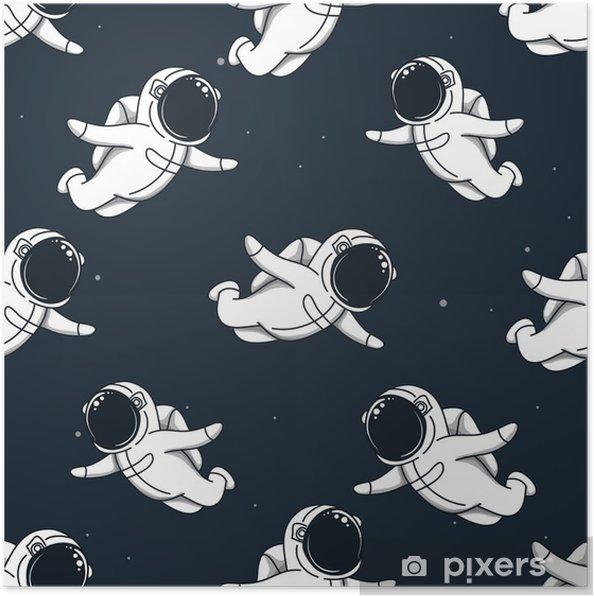 Poster Veel schattige spacemans vliegen in de ruimte - Wetenschap