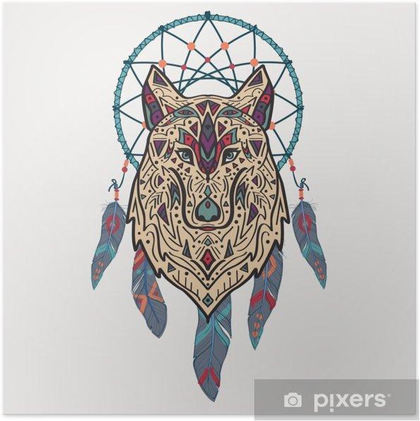Poster Vektor färgrik illustration av stam- stil varg med etniska prydnader och drömfångare. Amerikanska indiska motiv. Totem tatuering. Boho design. - Djur