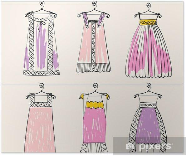 97cbd29e3da8 Poster Vektor fashionabla vackra kläder för små flickor • Pixers ...