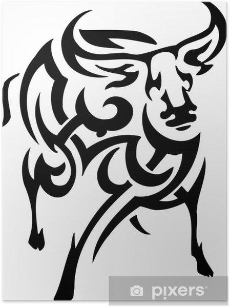 Poster Vektor vilyl-klar illustration - djur i stam- stil - Fantasidjur