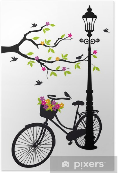 Poster Vélo avec lampe, des fleurs et des arbres, vecteur -