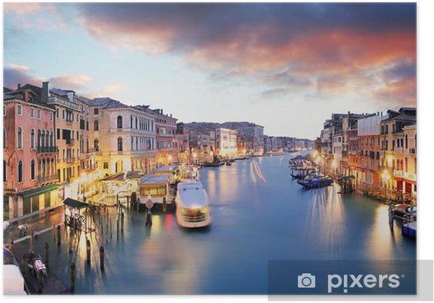 Poster Venise - Grand canal du pont du Rialto - Villes européennes