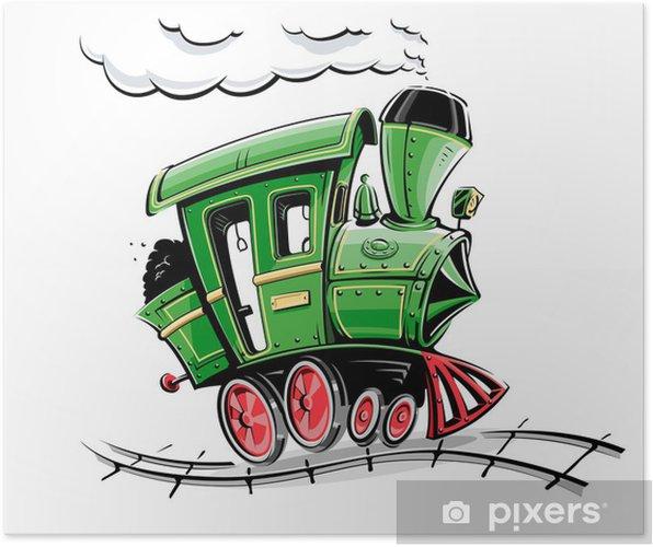 Póster Verde retro de dibujos animados ilustración vectorial locomotora aislada en - Por carretera