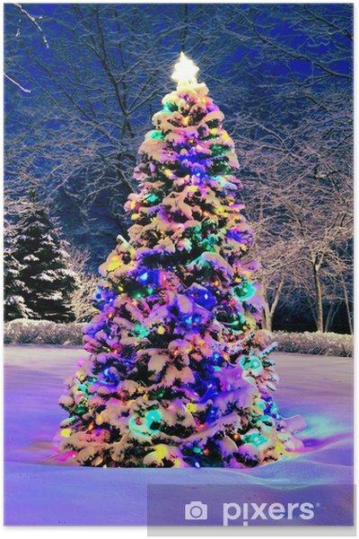 poster versierde kerstboom buiten met verlichting bedekt met sneeuw
