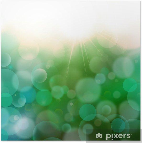Poster Vert foncé Bleu abstrait Airmar 3, bokeh lumière - Concepts